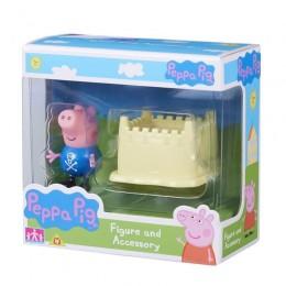 Świnka Peppa 06381 Zestaw figurka + akcesoria - George i zamek z piasku