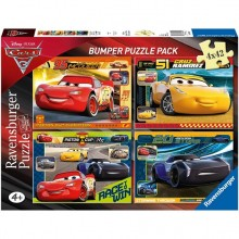 Ravensburger - Puzzle 4w1 - Auta 3 Cars Bumper - 068906