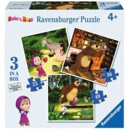 Ravensburger - Puzzle 3w1 - Masza i Niedźwiedź- 070275
