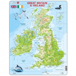 Larsen - Mapa fizyczna Wielkiej Brytanii i Irlandii - Puzzle 21053