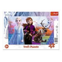 Trefl – Puzzle ramkowe 15 el – Magiczny Świat Anny i Elsy, Frozen – 31348