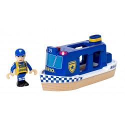 BRIO 33820 Dodatek do kolejki drewnianej - Policyjna łódka