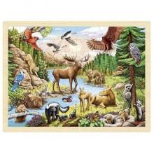 GOKI 57409 Drewniane puzzle - Leśne zwierzęta