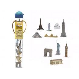 SAFARI LTD 679604 Figurki w tubie - Zabytki: dookoła świata