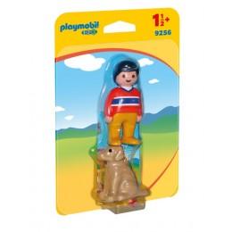 Playmobil 1-2-3 9256 Figurki - Mężczyzna z psem