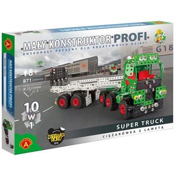 Alexander - 1635 - Klocki konstrukcyjne - Mały Konstruktor Profi - Ciężarówka z lawetą 10w1