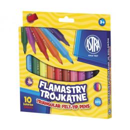 Astra - Flamastry trójkątne 10 kolorów - 0518