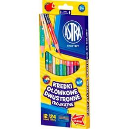Astra - Kredki ołówkowe trójkątne dwustronne 24 kolory - 0825