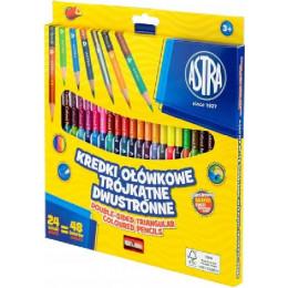 Astra - Kredki ołówkowe trójkątne dwustronne 48 kolorów - 1181