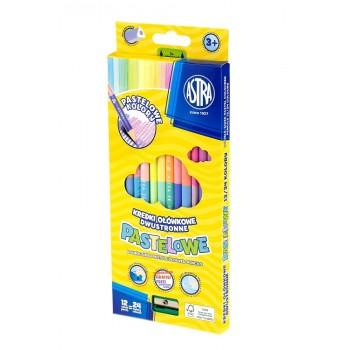 Astra – Dwustronne kredki ołówkowe pastelowe + temperówka – 24 kolory – 3713