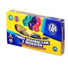 Astra – Farby dekoracyjne z brokatem – 6 kolorów 10 ml – 4687
