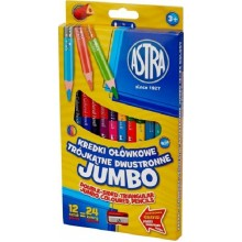 Astra - Kredki ołówkowe dwustronne Jumbo 24 kolory - 7165