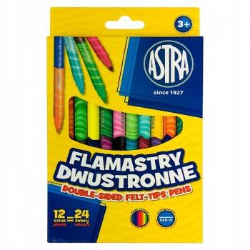 Astra – Dwustronne pisaki flamastry – 24 kolory – 7462