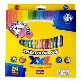Astra – Kredki ołówkowe XXL + temperówka – 24 kolory – 8115