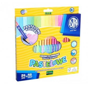 Astra – Dwustronne kredki ołówkowe pastelowe + temperówka – 48 kolorów – 8122