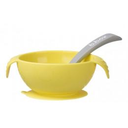 B.Box – Silikonowa miseczka z przyssawką + łyżeczka – Lemon – 473