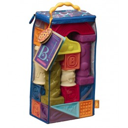 B.Toys - Zestaw 26 miękkich kolorowych klocków - Elemenosqueeze BX1003