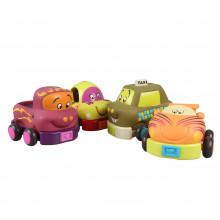 B.Toys - Cztery miękkie autka typu Pull Back - BX1048