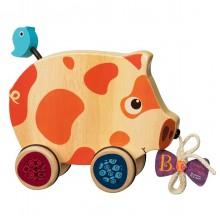 B.Toys - Drewniana świnka do ciągnięcia - BX1393