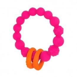 B.Toys - Gryzak silikonowy - Różowe kółko z pierścieniami - BX1618