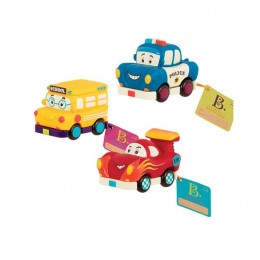 B.Toys Trzypak samochodzików Wheeee-is - autobus, wyścigówka i radiowóz  BX1657
