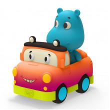 B.Toys - Miękkie autko sensoryczne z hipopotamem Sunny – światło + dźwięk – LB1702