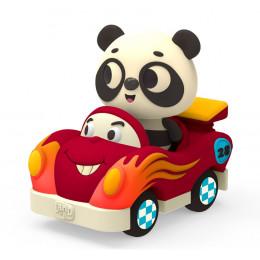 B.Toys - Miękkie autko sensoryczne z pandą Bingo – światło + dźwięk – LB1703
