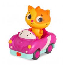 B.Toys - Miękkie autko sensoryczne z kotkiem Lolo – światło + dźwięk – LB1704