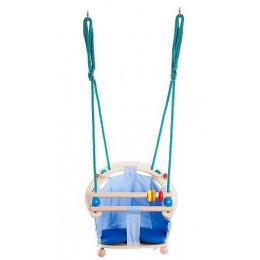 BAJO – Drewniana huśtawka dla dzieci – niebieska 52040