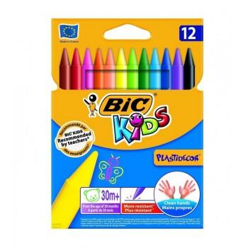 BIC – Kredki świecowe Kids Plastidecor – 12 kolorów – 00341