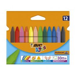 BIC – Trójkątne kredki świecowe Kids Plastidecor Triangle – 12 kolorów – 00789