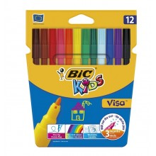 BIC – Pisaki flamastry Kids Visa – 12 kolorów – 2758