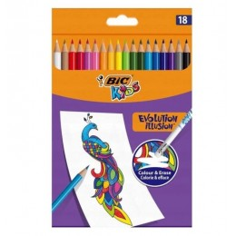 BIC – Zmazywalne kredki ołówkowe Kids Evolution Illusion – 18 kolorów – 51845