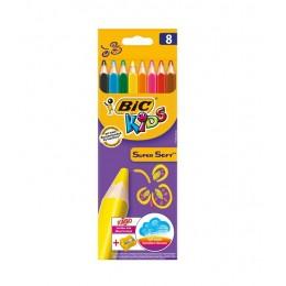 BIC – Miękkie kredki dla dzieci Kids Super Soft Jumbo + temperówka – 8 kolorów – 7052