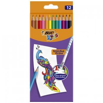 BIC – Zmazywalne kredki ołówkowe Kids Evolution Illusion – 12 kolorów – 70894