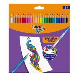 BIC – Zmazywalne kredki ołówkowe Kids Evolution Illusion – 24 kolory – 70900