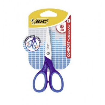BIC – Nożyczki 13 cm z miękkim uchwytem – Niebieskie – 78667