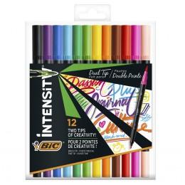 BIC – Pisaki flamastry Intensity dwustronne – 12 kolorów – 9568