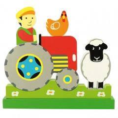 BigJigs BJ674 Drewniane puzzle magnetyczne 3D - Farmer Traktor