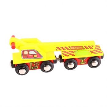 BigJigs Kolejka Drewniana Wagon z Dźwigiem BJT416