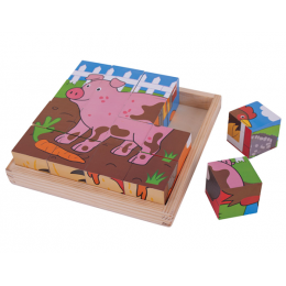 BigJigs BJ798 Drewniane Klocki Puzzle - Farma