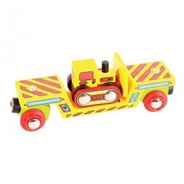 BigJigs - BJT415 - Kolejka Drewniana - Wagon z buldożerem