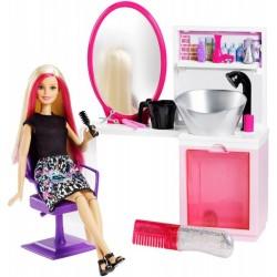 Barbie DTK05 Brokatowy salon fryzjerski z lalką - blondynka