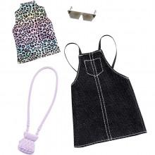 Barbie – Ubranka dla Barbie – Tęczowy top w panterkę i sukienka na szelkach – GHW74