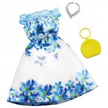 Barbie – Ubranka dla Barbie – Biało-niebieska sukienka w kwiaty – GHW79