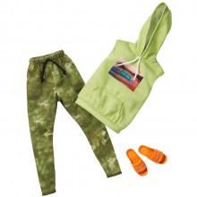 Barbie – Ubranka dla Kena - Zielony dres z klapkami – FKT44 GHX51