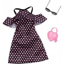 Barbie - Ubranka dla lalek - Czarna sukienka w różowe serduszka - FXJ16