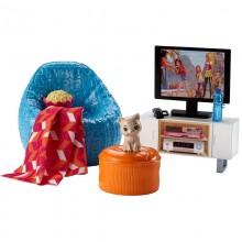 Barbie Akcesoria DVX46 Mebelki do salonu z telewizorem