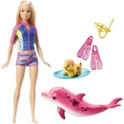 Lalka Barbie Delfiny z Magicznej Wyspy FBD63 Nurkowanie z delfinem + Lalka