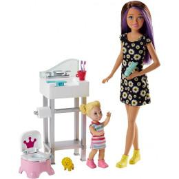 Barbie - Lalka Skipper Opiekunka - Zestaw z toaletą FJB01